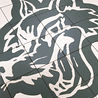 Ceramic Tile Wolf's Head, Cut on Waterjet