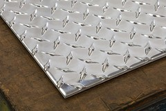 "Aluminum diamond plate channel 4/"" x 2/"" x .045/"" x 48/"""