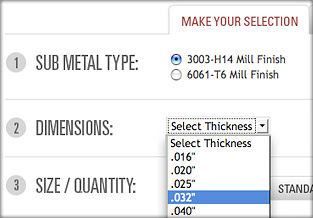 Select your Alloy and Dimensions